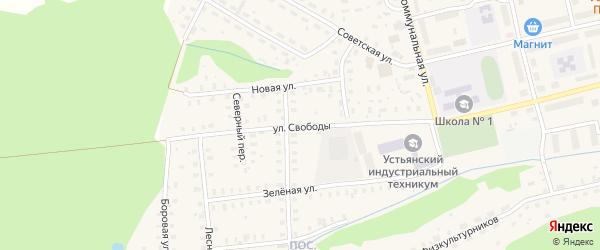 Улица Свободы на карте Октябрьского поселка с номерами домов