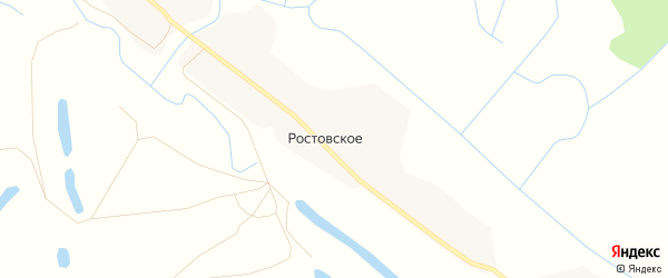 Карта деревни Ростовского в Архангельской области с улицами и номерами домов