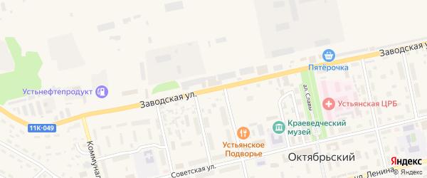 Заводская улица на карте Октябрьского поселка с номерами домов