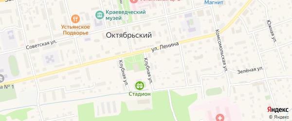 Клубная улица на карте Октябрьского поселка с номерами домов
