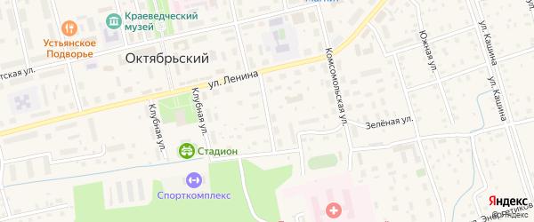 Квартальный переулок на карте Октябрьского поселка с номерами домов
