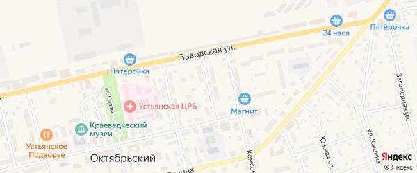 Железнодорожный переулок на карте Октябрьского поселка с номерами домов
