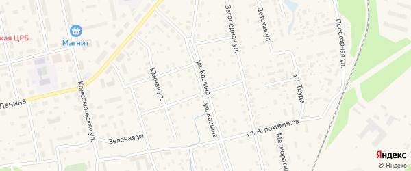 Улица Кашина на карте Октябрьского поселка с номерами домов