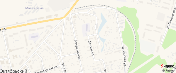 Овражная улица на карте Октябрьского поселка с номерами домов