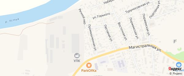 Промышленная улица на карте Октябрьского поселка с номерами домов