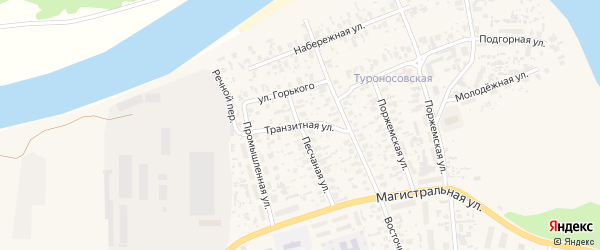 Транзитная улица на карте Октябрьского поселка с номерами домов