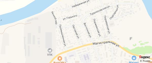 Песчаная улица на карте Октябрьского поселка с номерами домов