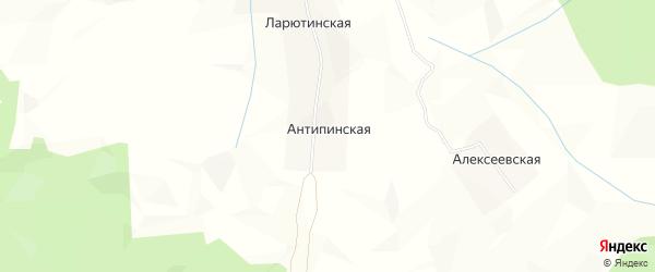 Карта Антипинской деревни в Архангельской области с улицами и номерами домов