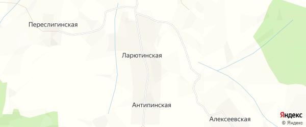 Карта Ларютинской деревни в Архангельской области с улицами и номерами домов