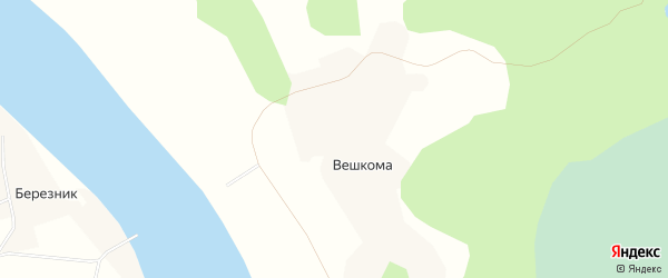 Карта деревни Вешкомы в Архангельской области с улицами и номерами домов