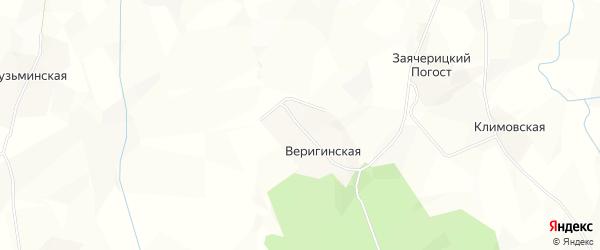 Карта Веригинской деревни в Архангельской области с улицами и номерами домов