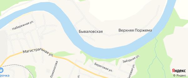 Карта Бываловской деревни в Архангельской области с улицами и номерами домов
