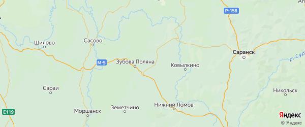 Карта Торбеевского района республики Мордовия с населенными пунктами и городами