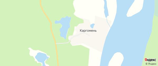 Карта деревни Каргомени в Архангельской области с улицами и номерами домов