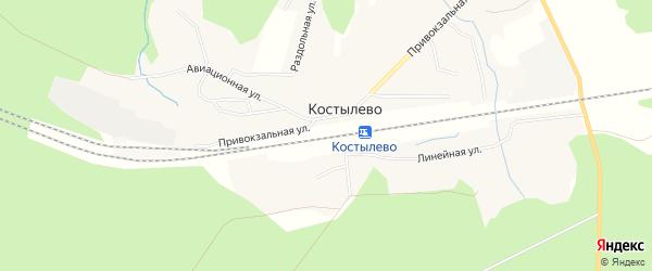 Карта поселка Костылево в Архангельской области с улицами и номерами домов