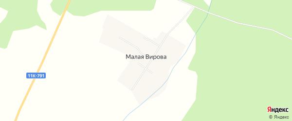 Карта деревни Малая Вирова в Архангельской области с улицами и номерами домов
