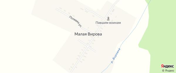 Полевая улица на карте деревни Малая Вирова с номерами домов