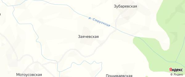 Карта Заячевской деревни в Архангельской области с улицами и номерами домов