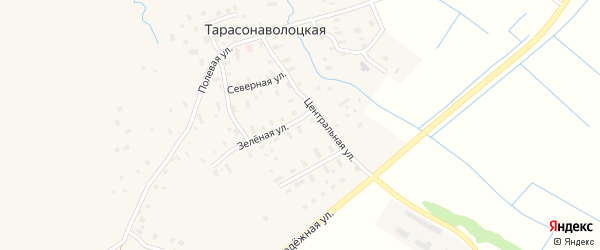 Зеленая улица на карте Тарасонаволоцкой деревни с номерами домов