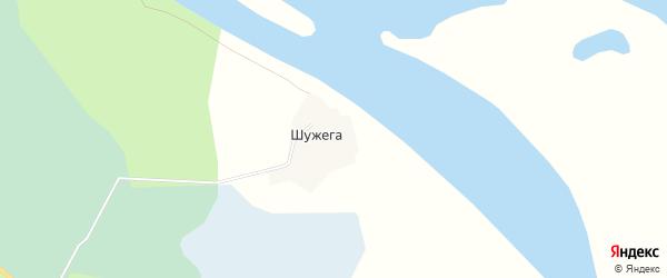 Карта деревни Шужеги в Архангельской области с улицами и номерами домов