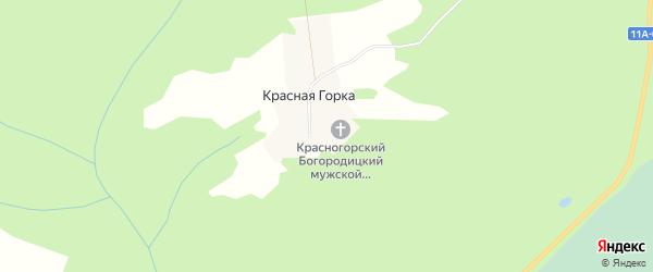Карта поселка Красной Горки в Архангельской области с улицами и номерами домов