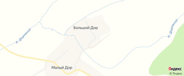 Карта деревни Большой Дора в Архангельской области с улицами и номерами домов