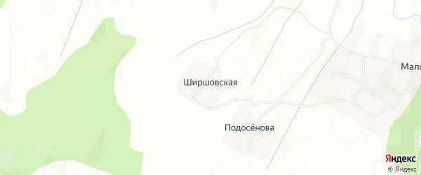 Карта Ширшовской деревни в Архангельской области с улицами и номерами домов
