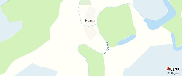 Карта деревни Нижи в Архангельской области с улицами и номерами домов