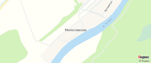 Карта Милославской деревни в Архангельской области с улицами и номерами домов