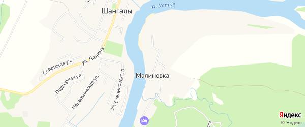 Карта деревни Малиновки в Архангельской области с улицами и номерами домов