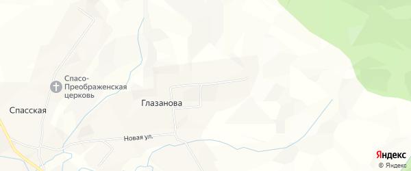 Карта деревни Глазанова в Архангельской области с улицами и номерами домов