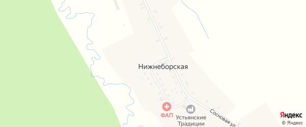 Песчаная улица на карте Нижнеборской деревни с номерами домов