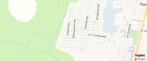 Юбилейный переулок на карте поселка Пинеги с номерами домов