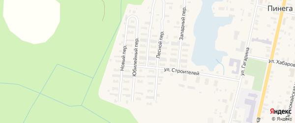 Лесной переулок на карте поселка Пинеги с номерами домов