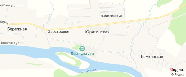 Карта Юрятинской деревни в Архангельской области с улицами и номерами домов