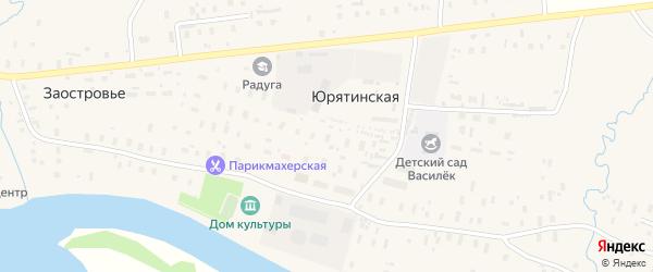 Юбилейная улица на карте Юрятинской деревни с номерами домов