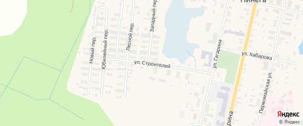 Улица Строителей на карте поселка Пинеги с номерами домов