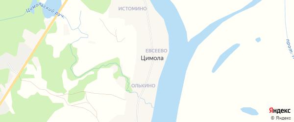 Карта деревни Цимолы в Архангельской области с улицами и номерами домов