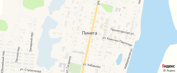 Молодежная улица на карте поселка Пинеги с номерами домов