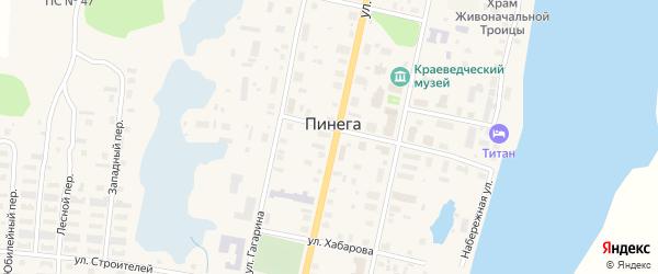 Улица Красных Партизан на карте поселка Пинеги с номерами домов