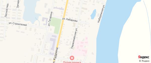 Первомайская улица на карте поселка Пинеги с номерами домов