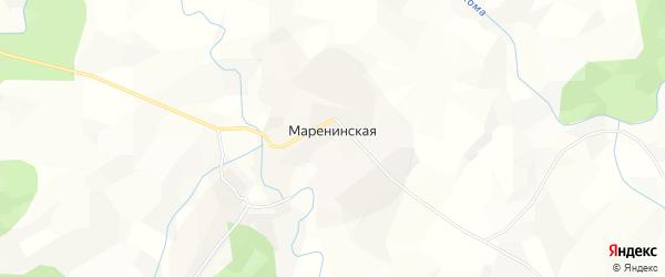 Карта Маренинской деревни в Архангельской области с улицами и номерами домов