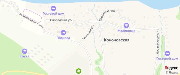 Родниковая улица на карте Кононовской деревни с номерами домов