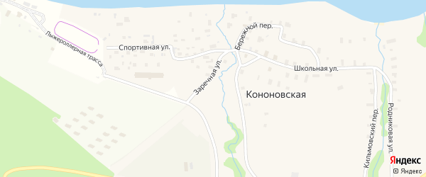 Бережной переулок на карте Кононовской деревни с номерами домов