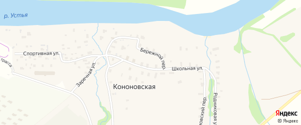 Спортивная улица на карте Кононовской деревни с номерами домов