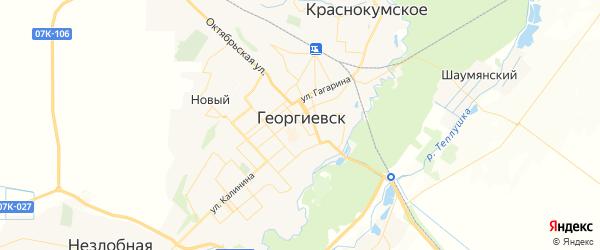 Карта Георгиевска с районами, улицами и номерами домов
