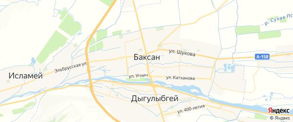 Карта Баксана с районами, улицами и номерами домов: Баксан на карте России