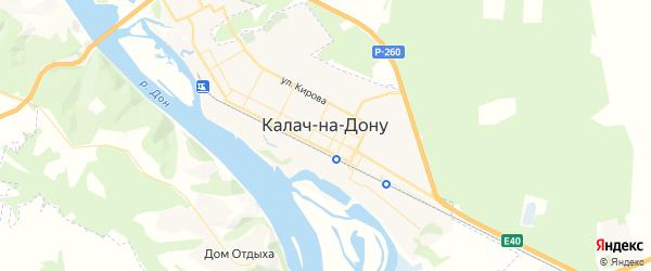 Карта Калача-на-Дону с районами, улицами и номерами домов