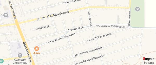 Улица Им братьев Сабановых на карте Чегема с номерами домов