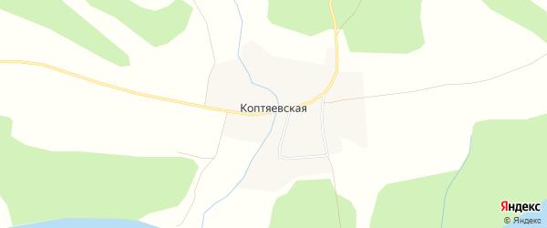 Карта Коптяевской деревни в Архангельской области с улицами и номерами домов